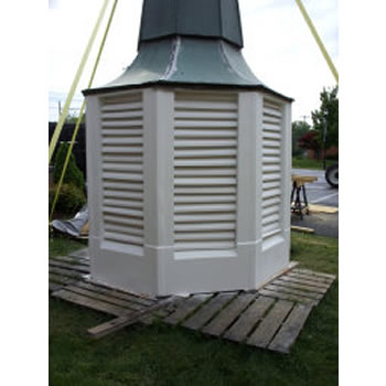 This wood and copper bell tower was repaired and repainted by Southern Steeplejacks.