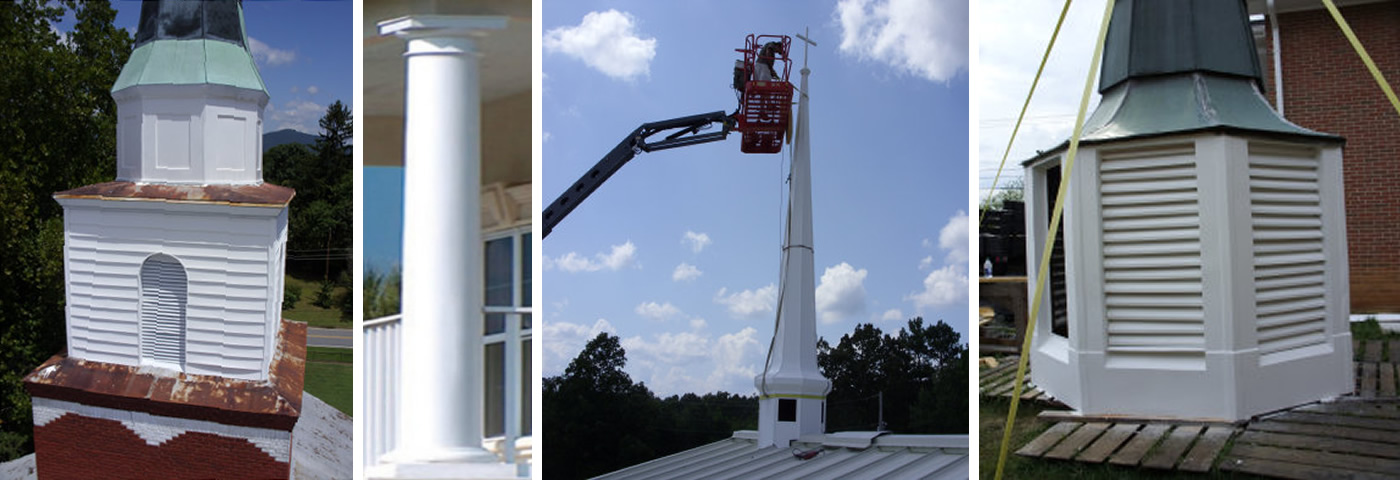 Southern Steeple Jacks church steeple services include: gold and gilding, fiberglass, inspections, restorations, cleaning, gelcoat repair, pressure cleaning, removal, renovation, installation, painting, covering and more!