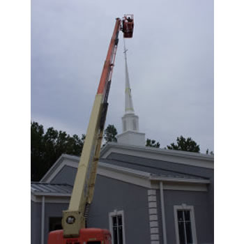 If you need a new church steeple or spiral installed like this one in Virginia, call Southern Steeplejacks.