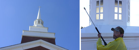 We professionally clean church steeples, spires and other tall structures. - Southern Steeplejacks - 828-685-0940
