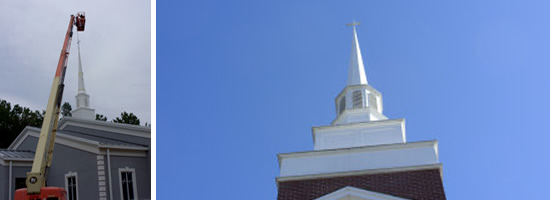 Southern Steeplejacks repairs and fully restores wood, copper, aluminum, fiberglass and masonry steeples.