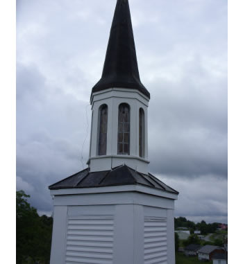 Metal spire repaired in West Virginia by Southern Steeplejacks.