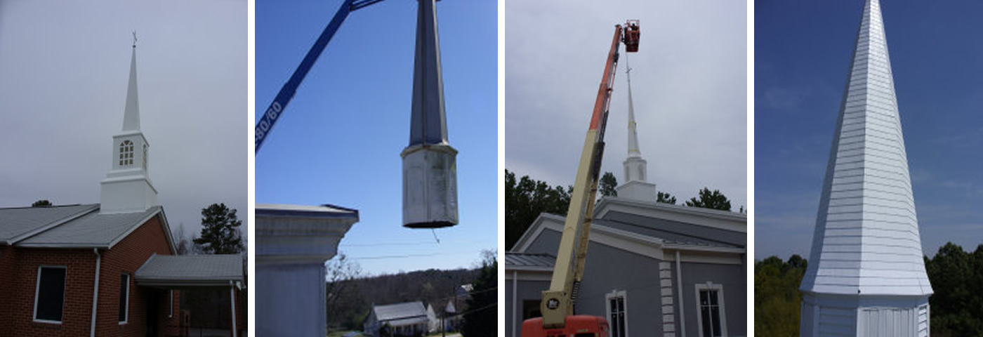 Southern Steeple Jacks sells and installs all types of church steeples, spires, spirals, cupolas, bell towers and columns nationwide in wood, fiberglass, masonry, brick, stone, concrete, aluminum, copper. We are bonded and insured.